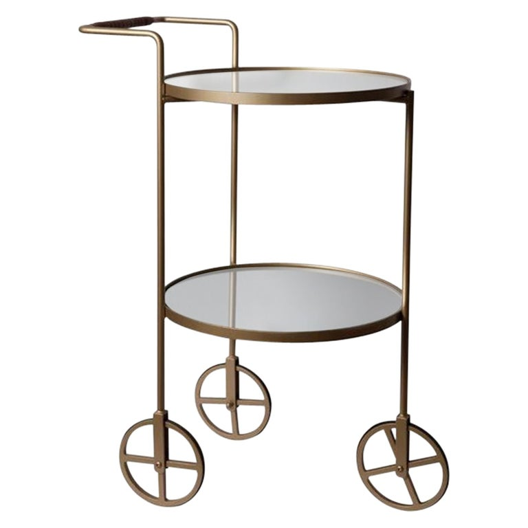 """""""Lola"""" Bar Cart Modernist Style Gold Color Painted Steel and Silver Mirror For Sale"""