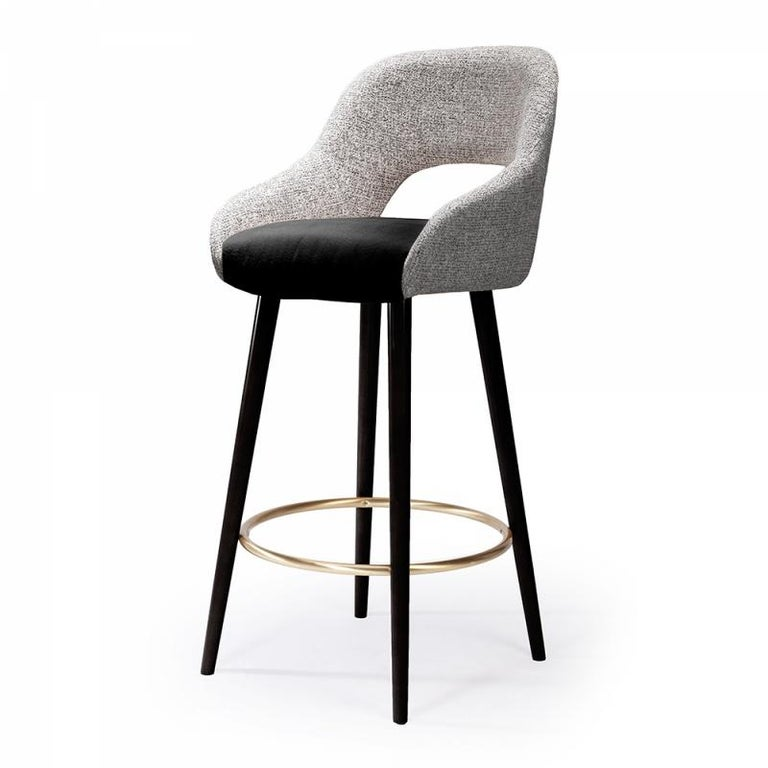 Portuguese Bar chair Lola in Solid Wood, Brass and Upholstery New For Sale