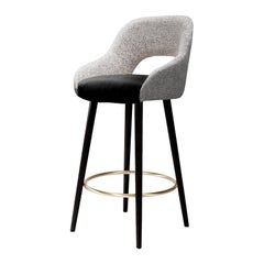 Bar chair Lola in Solid Wood, Brass and Upholstery New