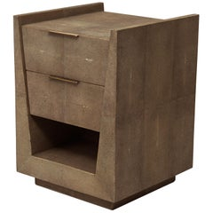 Lola Bedside Table in Brown Shagreen and Bronze-Patina Brass by R&Y Augousti