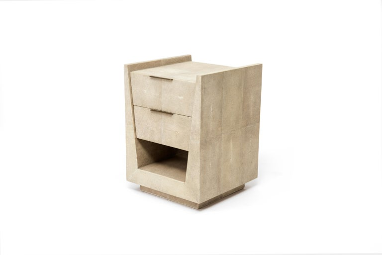 Hand-Crafted Lola Bedside Table in Cream Shagreen, Palm Wood & Brass by R&Y Augousti For Sale