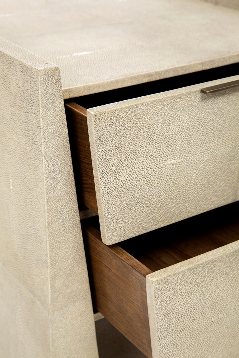 Lola Bedside Table in Shagreen and Bronze-Patina Brass by R&Y Augousti For Sale 4