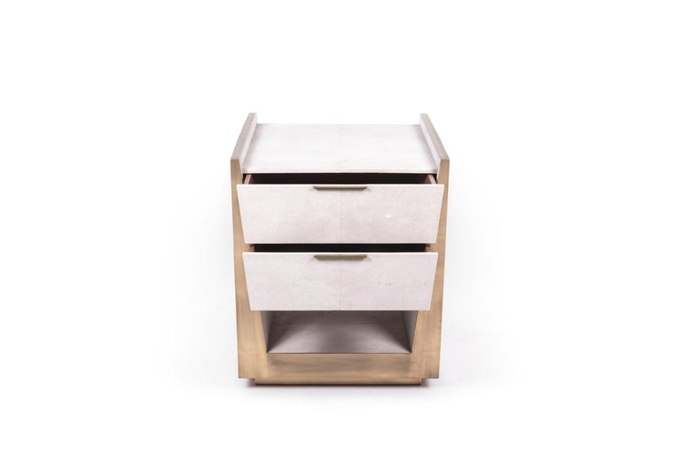 Hand-Crafted Lola Bedside Table in Shagreen and Bronze-Patina Brass by R&Y Augousti For Sale