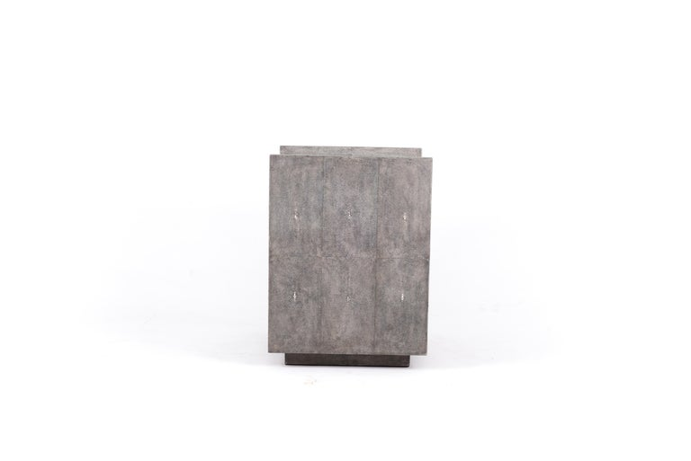 Lola Bedside Table in Shagreen and Bronze-Patina Brass by R&Y Augousti For Sale 1