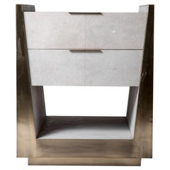 Lola Bedside Table in Cream Shagreen and Bronze-Patina Brass by R&Y Augousti