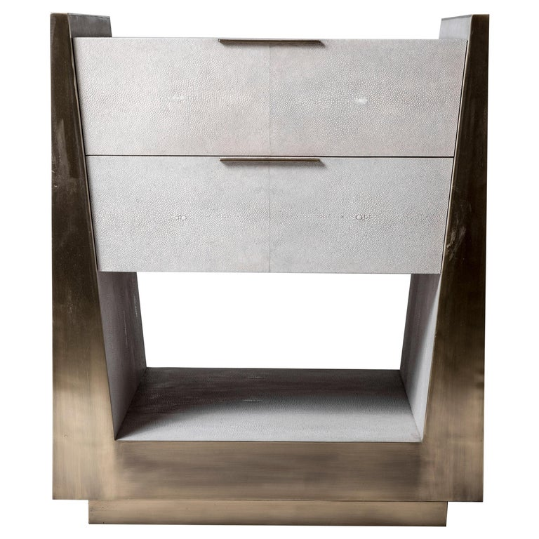Lola Bedside Table in Shagreen and Bronze-Patina Brass by R&Y Augousti For Sale