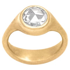 Lola Brooks 1.51 Ct Round Rose-Cut White Diamond One of a Kind Yellow Gold Ring