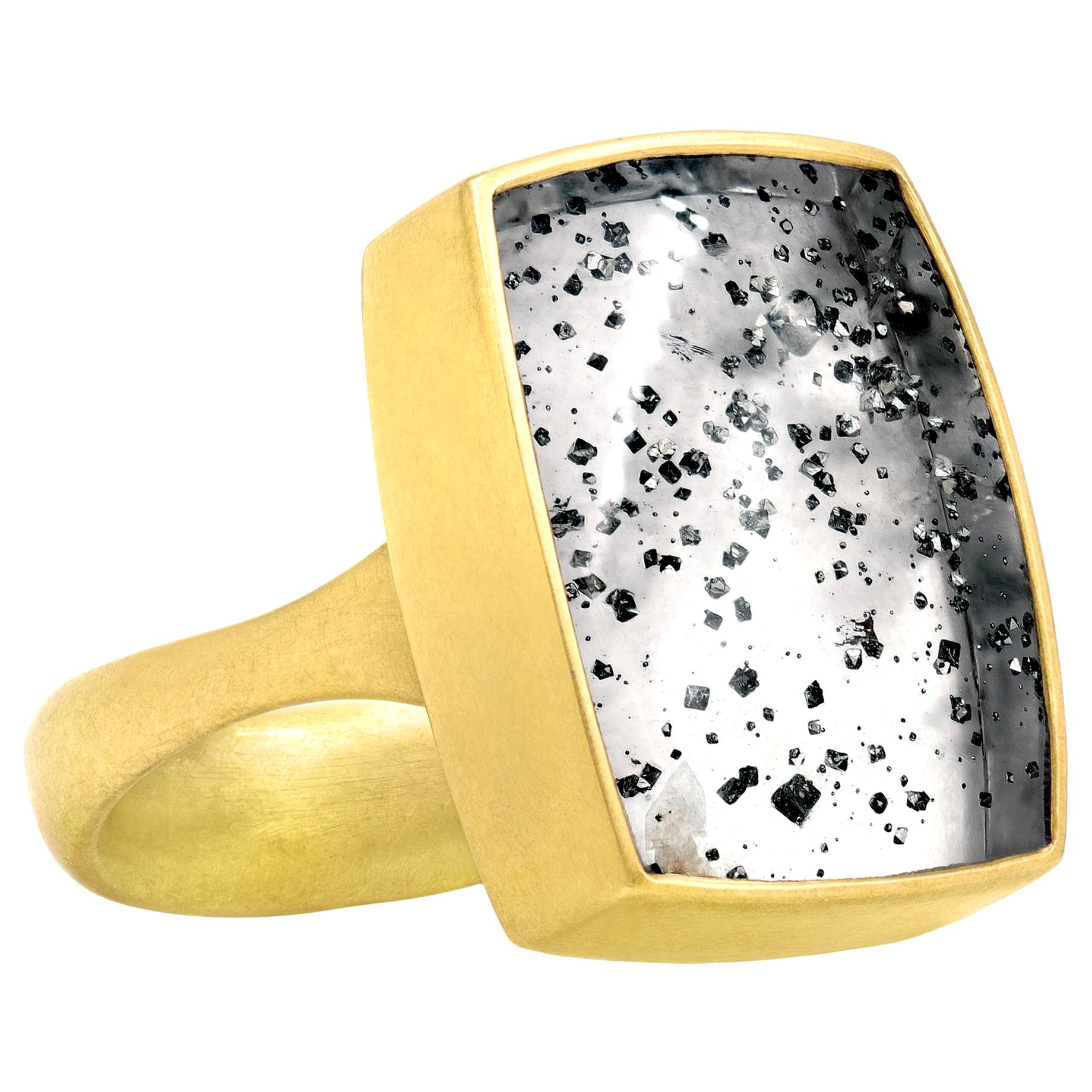 Lola Brooks 17.11 Carat Pyrite in Quartz Yellow Gold One of a Kind Ring