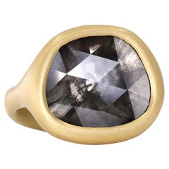 Lola Brooks 5.06 Carat Faceted Diamond 22k Gold One of a Kind Ring