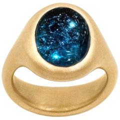 Lola Brooks 5.32 Carat Deep Blue Tourmaline One of a Kind Yellow Gold Ring