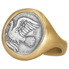 Lola Brooks Ancient Greek Dove Silver Coin Yellow Gold One of a Kind Ring