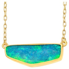 Lola Brooks Blue Green Boulder Opal Yellow Gold One of a Kind Necklace
