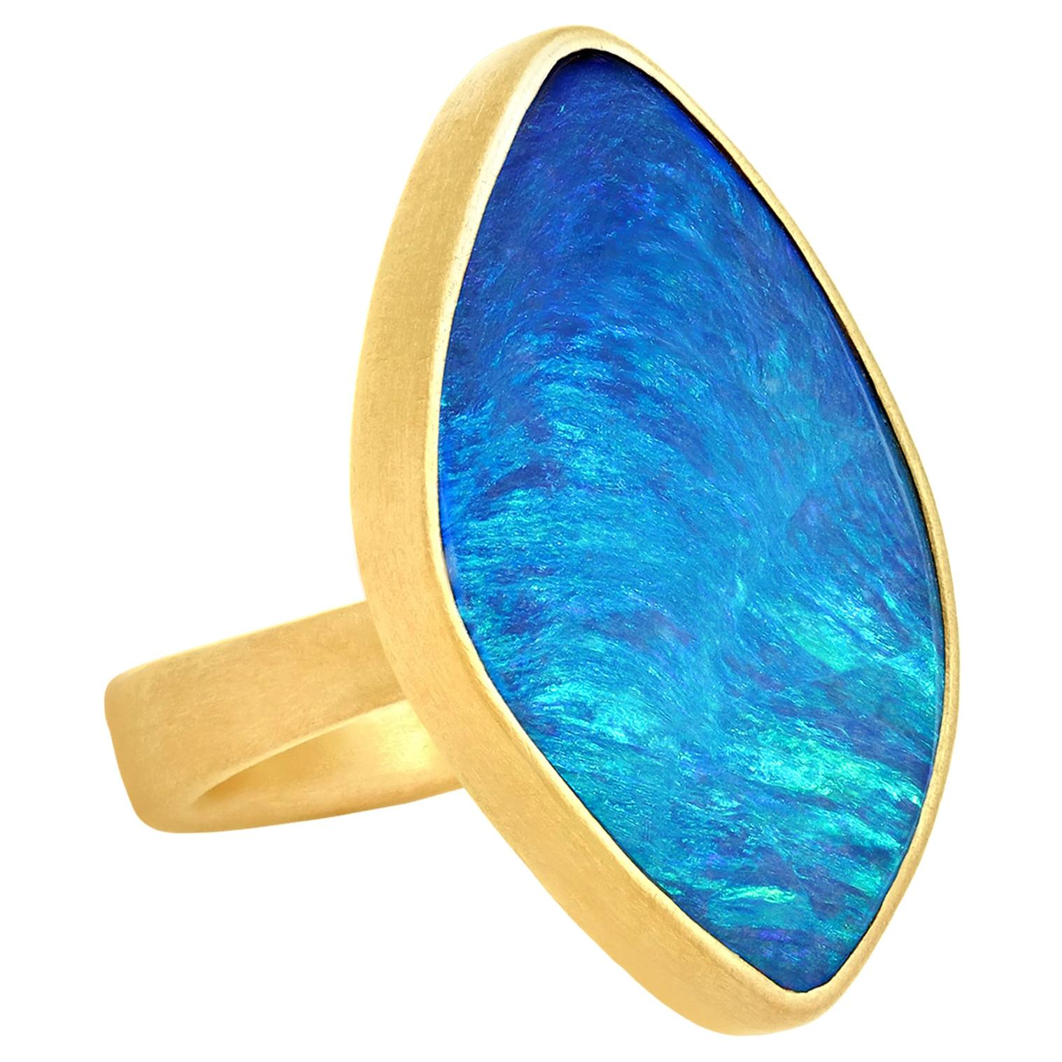Lola Brooks Brilliant Blue Australian Opal One of a Kind 22 Karat Gold Ring
