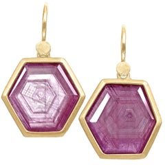 Lola Brooks Glowing Hexagonal Ruby Crystal One of a Kind Yellow Gold Earrings