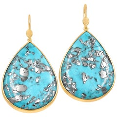 Lola Brooks Natural Turquoise with Pyrite One of a Kind Gold Drop Earrings