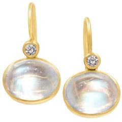 Lola Brooks Phenomenal Rainbow Moonstone White Diamond Dangle Drop Earrings