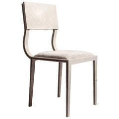 Lola Chair in Cream Shagreen with Cream Upholstered Seat by R&Y Augousti