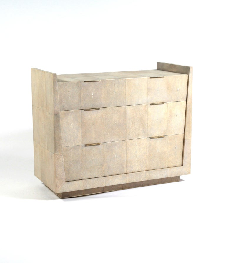 Art Deco Lola Chest of Drawers in Cream Shagreen by R&Y Augousti For Sale