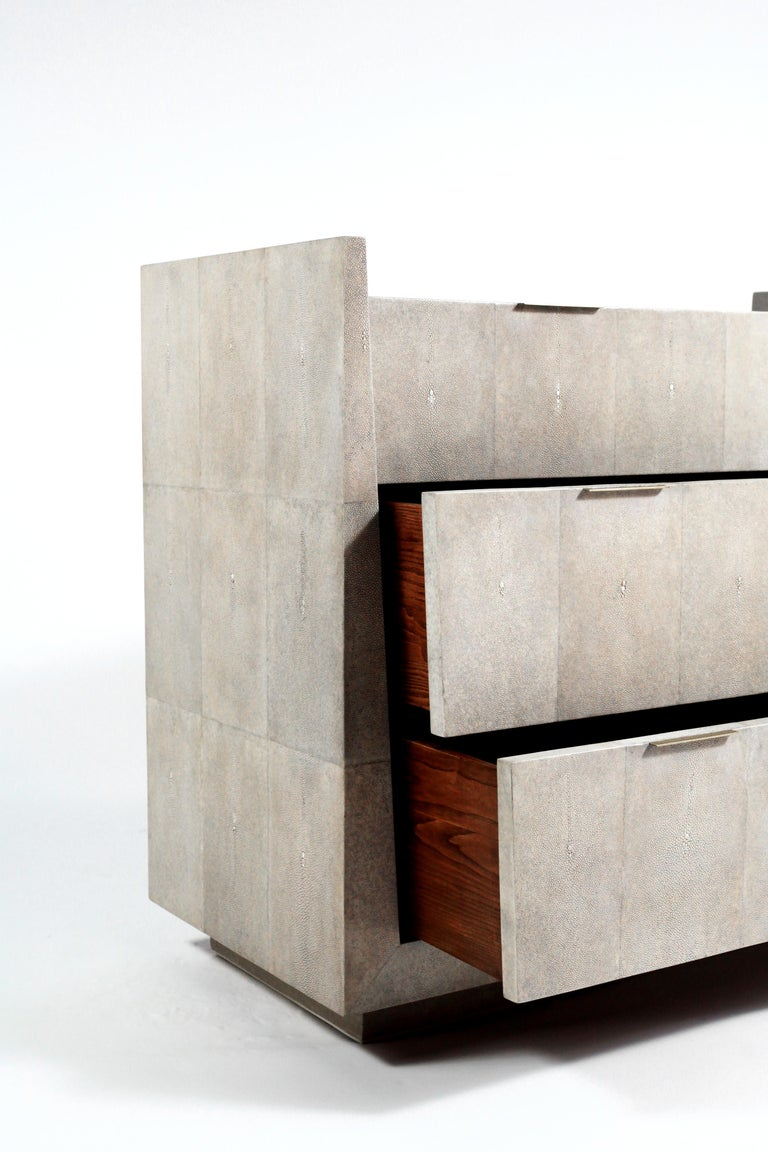 Hand-Crafted Lola Chest of Drawers in Cream Shagreen by R&Y Augousti For Sale