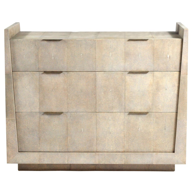 Lola Chest of Drawers in Cream Shagreen by R&Y Augousti For Sale