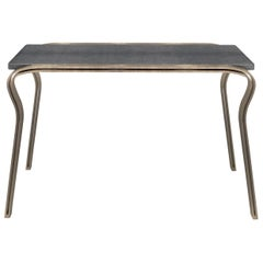 Lola Console Table in Black Shagreen and Bronze-Patina Brass by R&Y Augousti