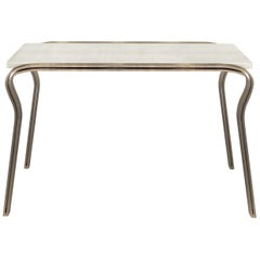 Lola Console Table in Cream Shagreen and Bronze-Patina Brass by R & Y Augousti