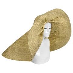 Lola Hats Blue & Beige Giga Spinner Raffia Hat rt. $770