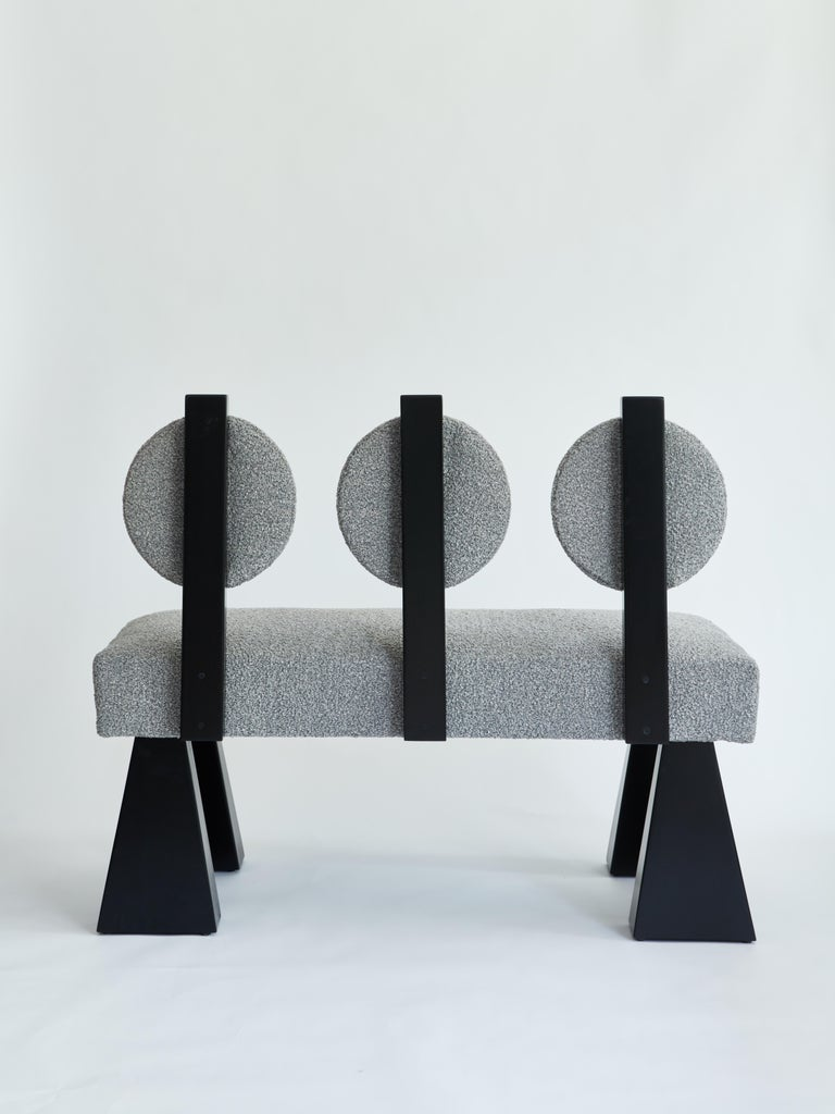 Modern Lola Settee, Bouclé & Black Lacquered Wood Settee by Christian Siriano For Sale