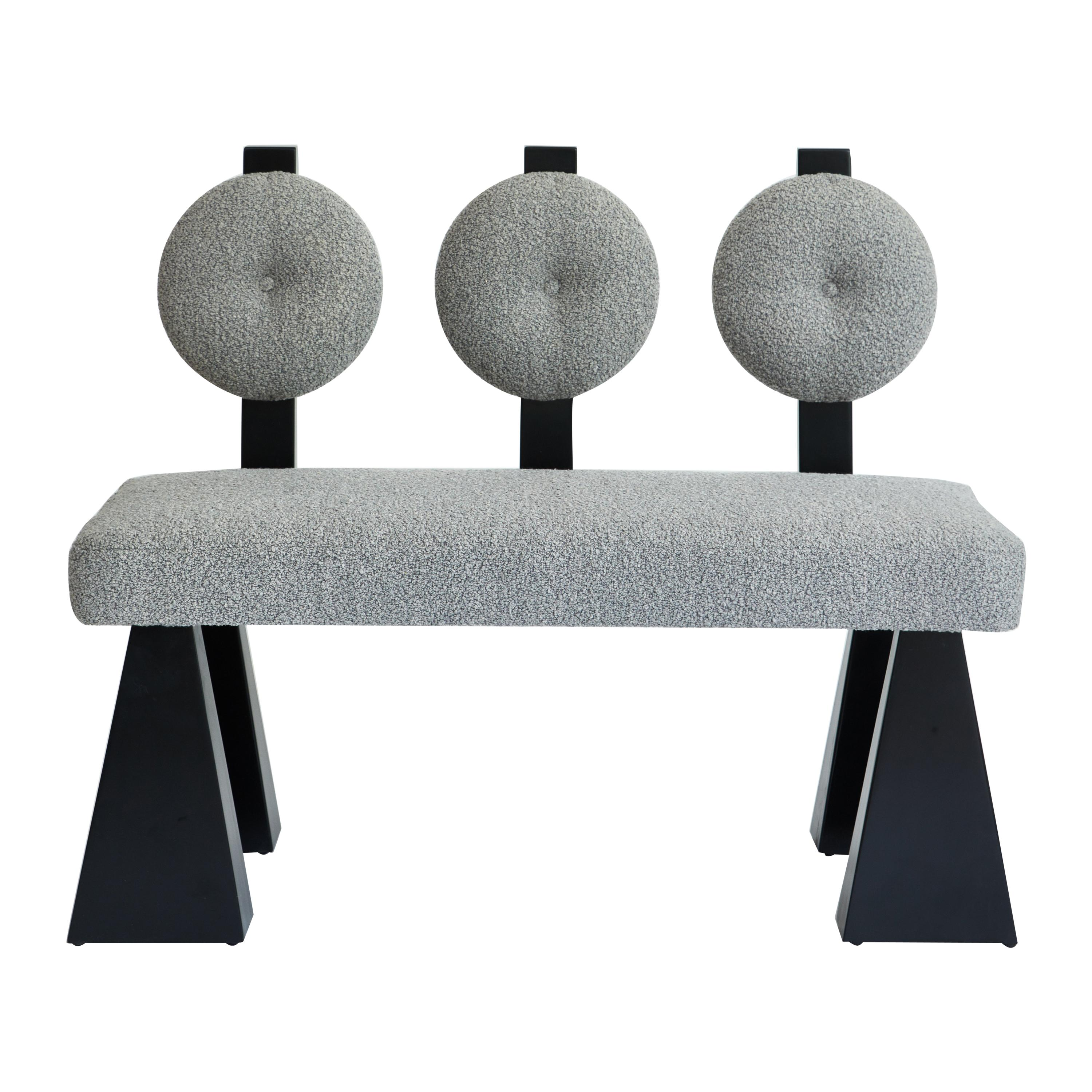 Lola Settee, Bouclé & Black Lacquered Wood Settee by Christian Siriano