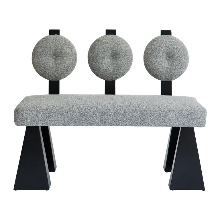 Lola Settee, Bouclé & Black Lacquered Wood Settee by Christian Siriano For Sale