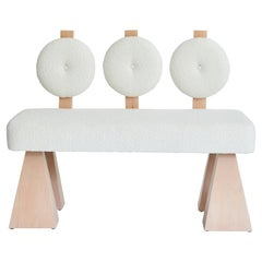 Lola Settee, Bouclé & Natural Wood Settee by Christian Siriano