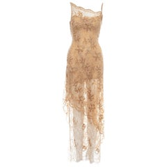 Lolita Lempicka apricot embellished metallic lace evening dress, ss 1999