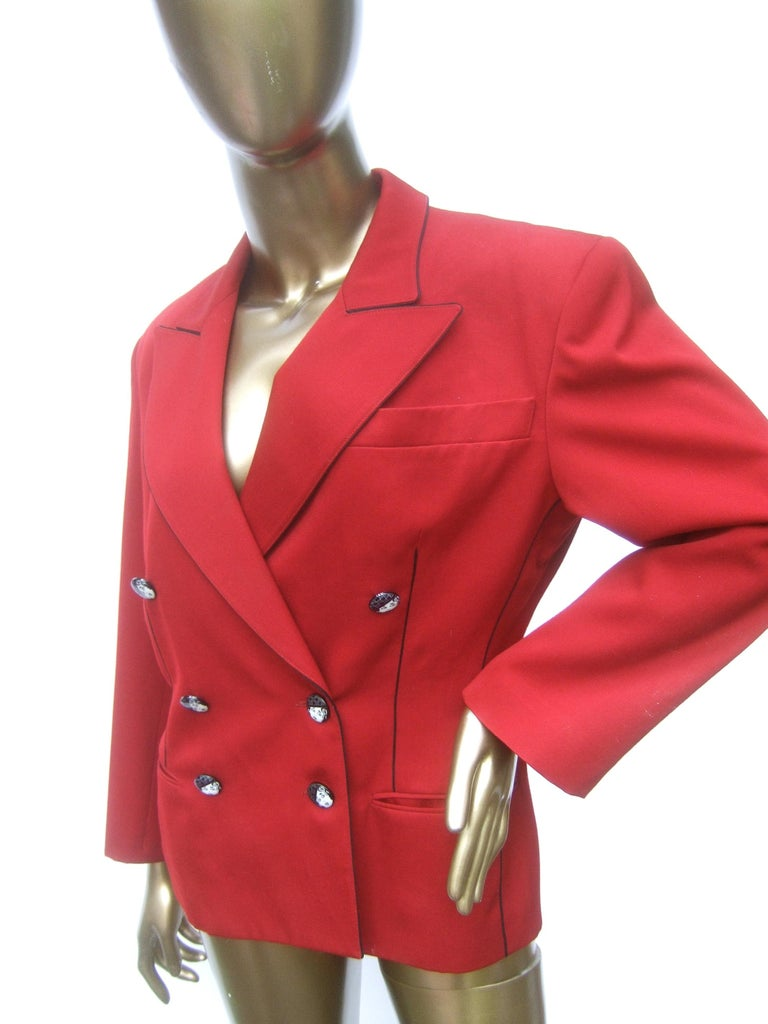 Lolita Lempicka Paris Red Wool Face Button Double-Breasted Blazer c 1980s For Sale 6