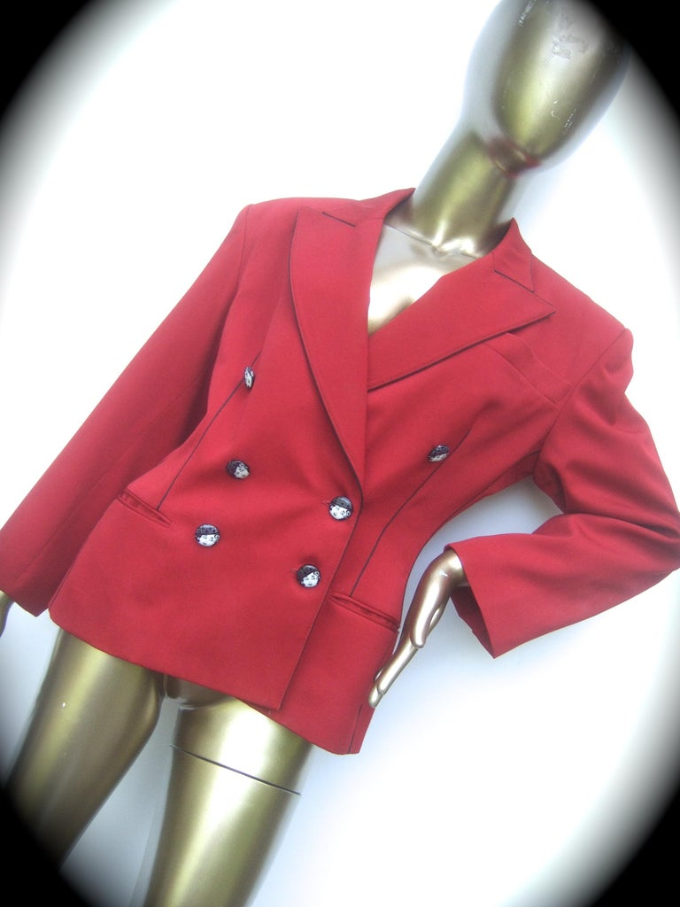Lolita Lempicka Paris Red Wool Face Button Double-Breasted Blazer c 1980s For Sale 7