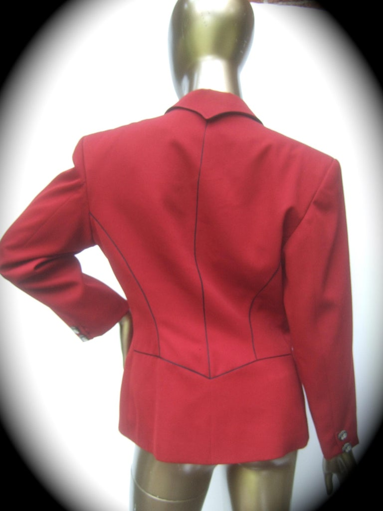 Lolita Lempicka Paris Red Wool Face Button Double-Breasted Blazer c 1980s For Sale 8