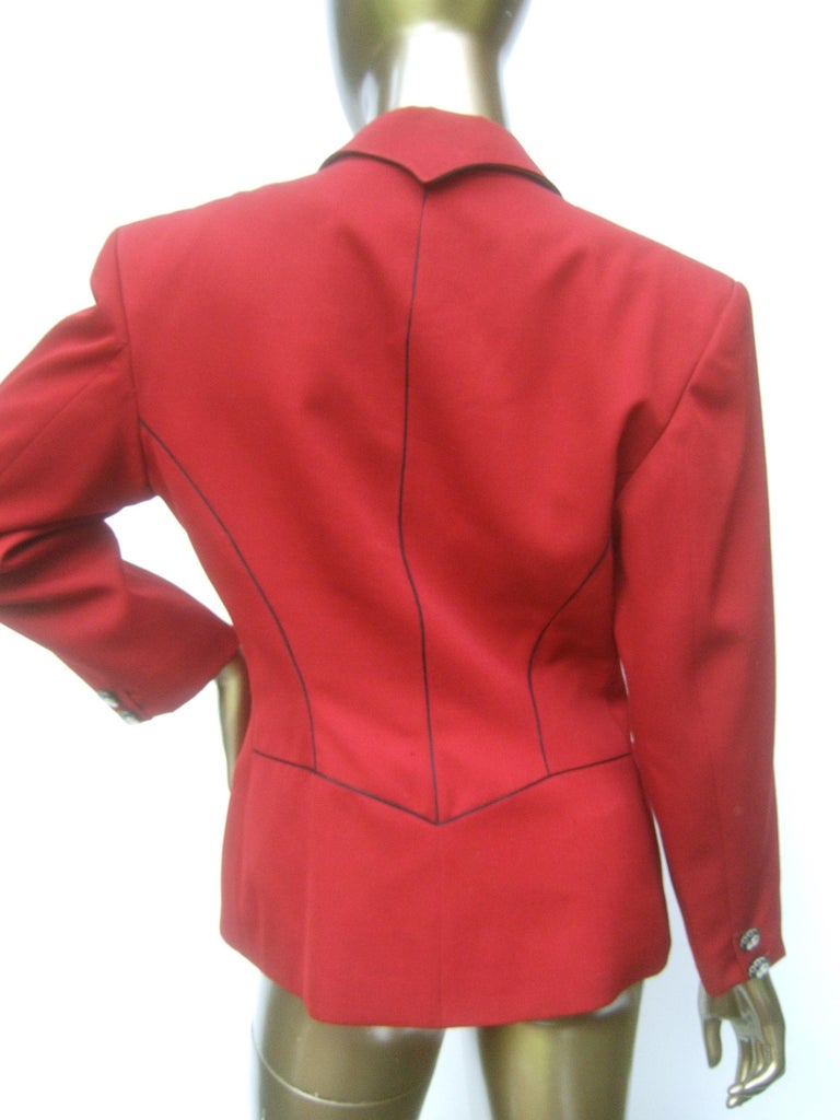 Lolita Lempicka Paris Red Wool Face Button Double-Breasted Blazer c 1980s For Sale 9