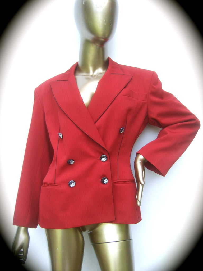 Lolita Lempicka Paris Red wool face button double-breasted blazer jacket French size 40 (vintage)  The stylish red laine wool jacket is adorned with a collection of black and white resin buttons depicting a retro style woman's face. The red laine