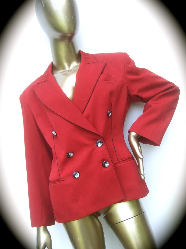 Women's Lolita Lempicka Paris Red Wool Face Button Double-Breasted Blazer c 1980s For Sale