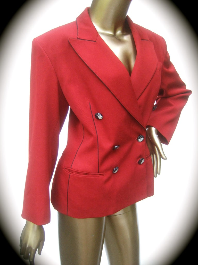 Lolita Lempicka Paris Red Wool Face Button Double-Breasted Blazer c 1980s For Sale 1
