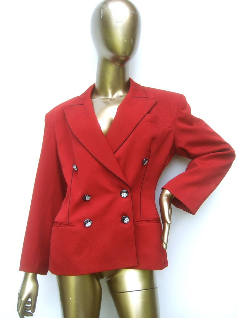 Lolita Lempicka Paris Red Wool Face Button Double-Breasted Blazer c 1980s For Sale 2