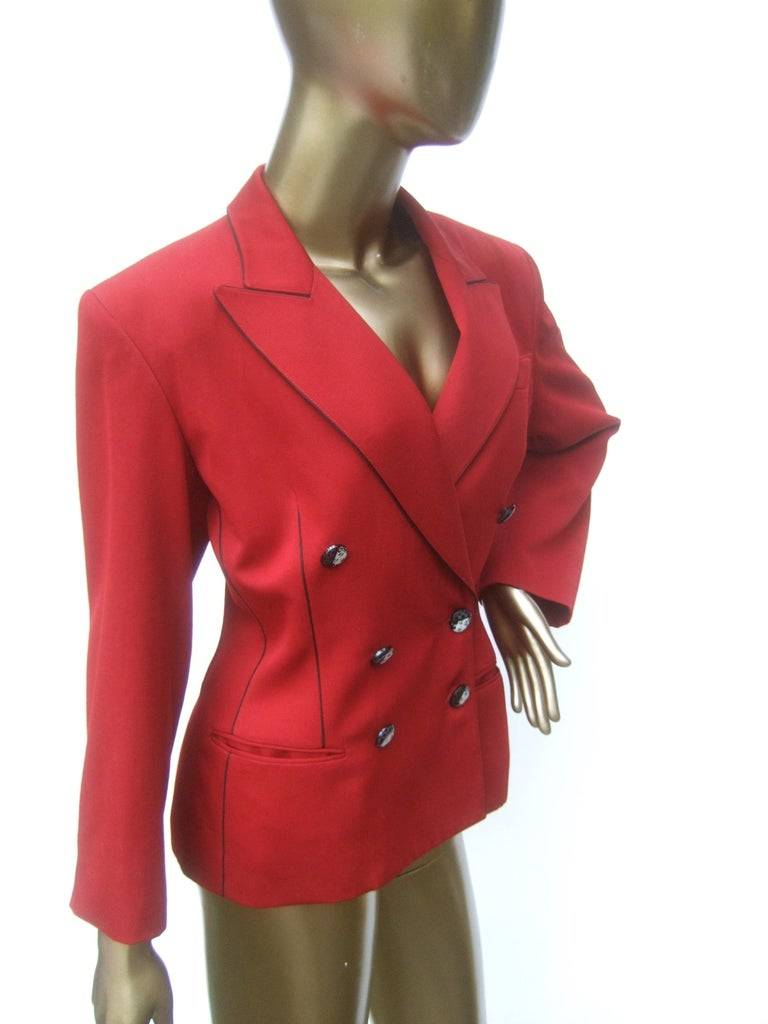 Lolita Lempicka Paris Red Wool Face Button Double-Breasted Blazer c 1980s For Sale 3