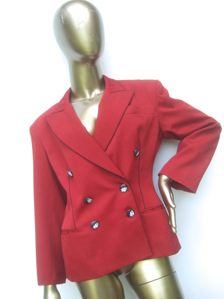 Lolita Lempicka Paris Red Wool Face Button Double-Breasted Blazer c 1980s For Sale 4