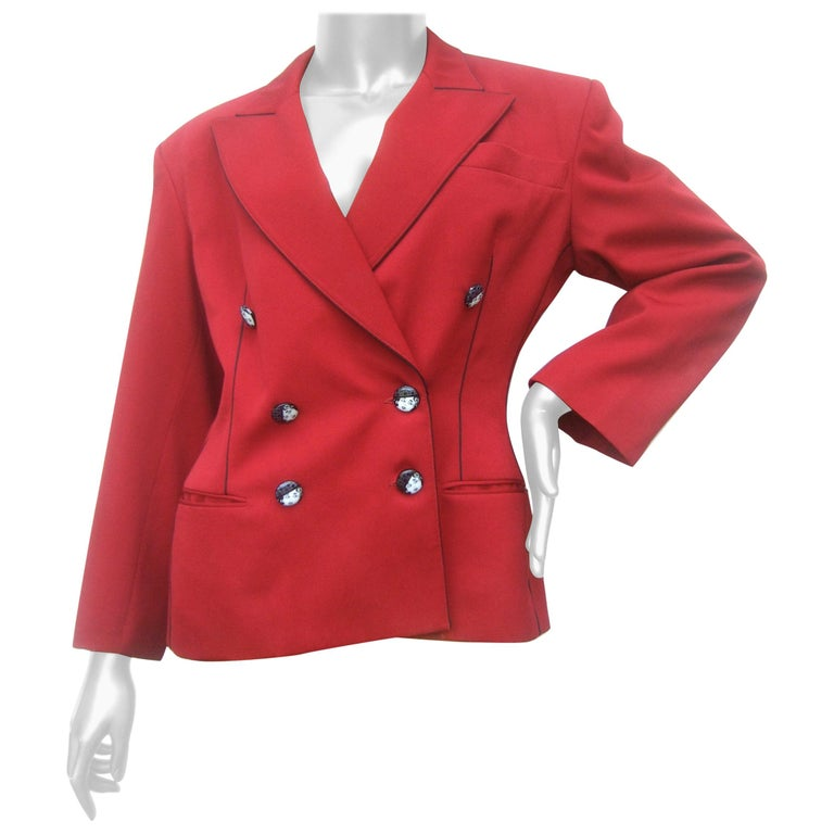 Lolita Lempicka Paris Red Wool Face Button Double-Breasted Blazer c 1980s For Sale
