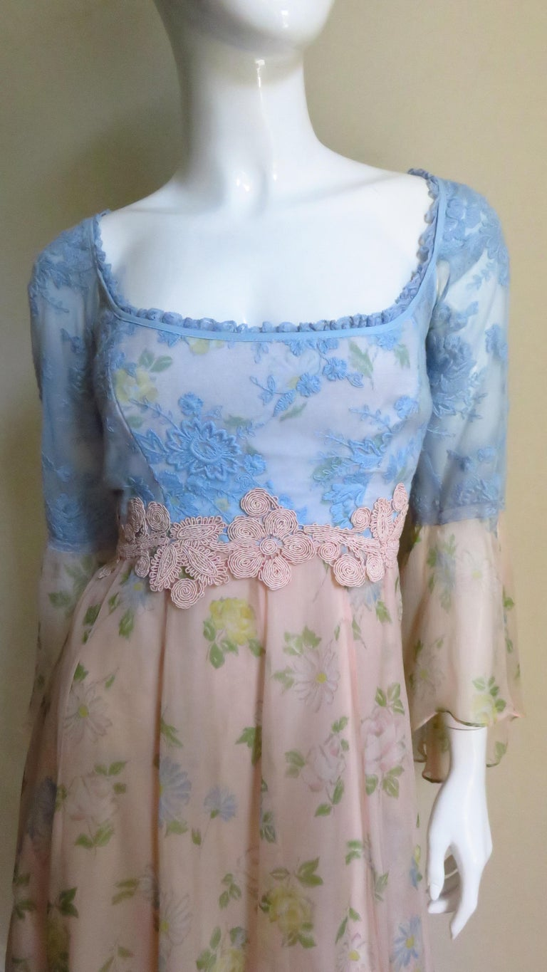 Gray Lolita Lempicka Silk Dress with Lace  For Sale