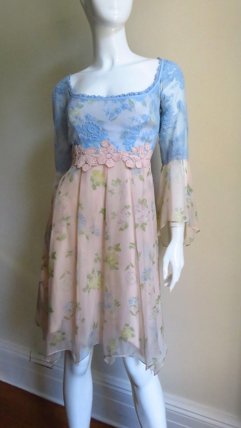 Lolita Lempicka Silk Dress with Lace  For Sale 1