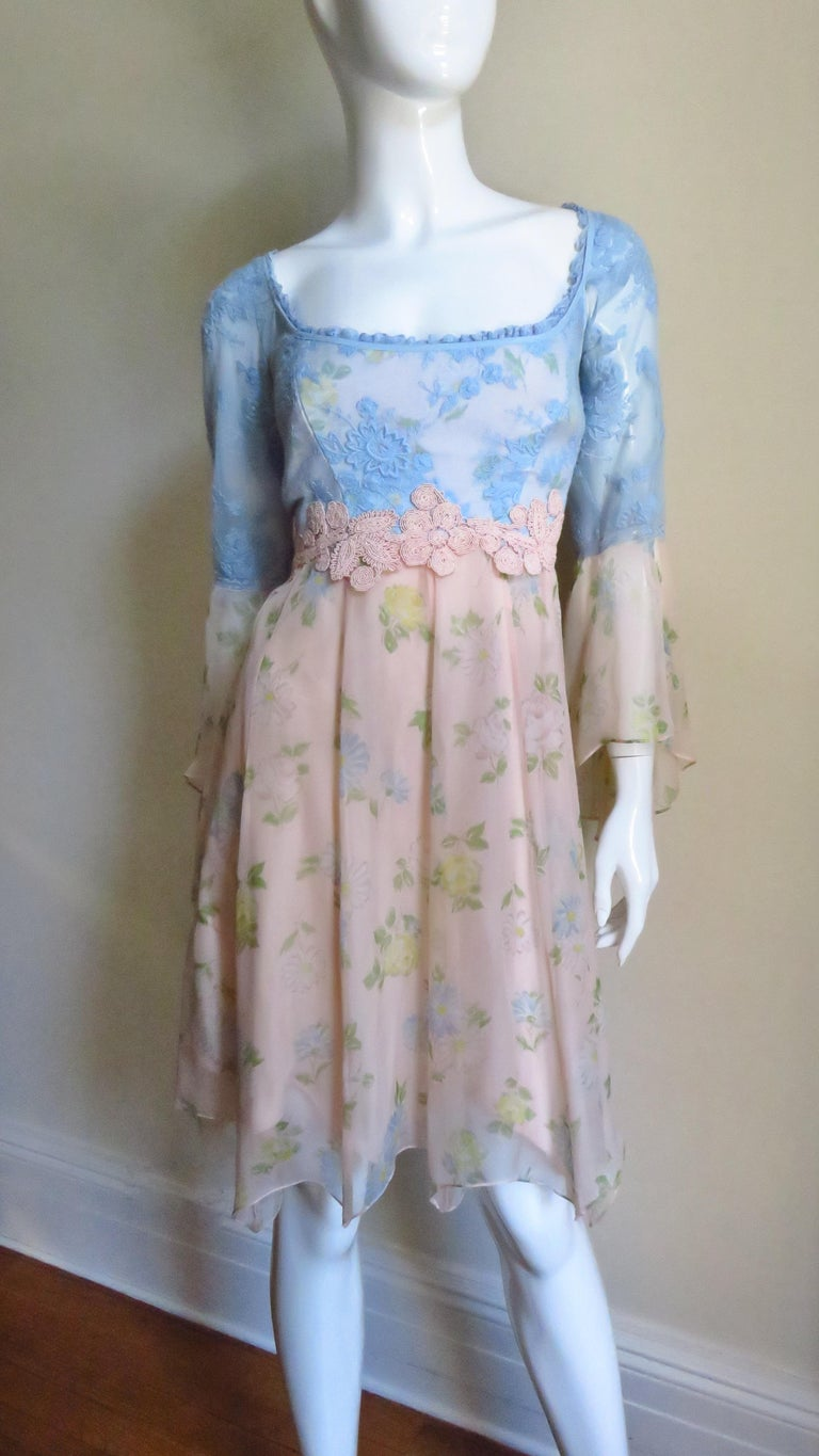 Lolita Lempicka Silk Dress with Lace  For Sale 2