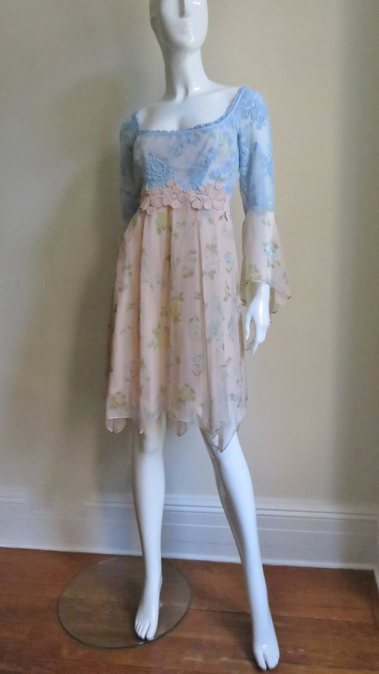 Lolita Lempicka Silk Dress with Lace  For Sale 3