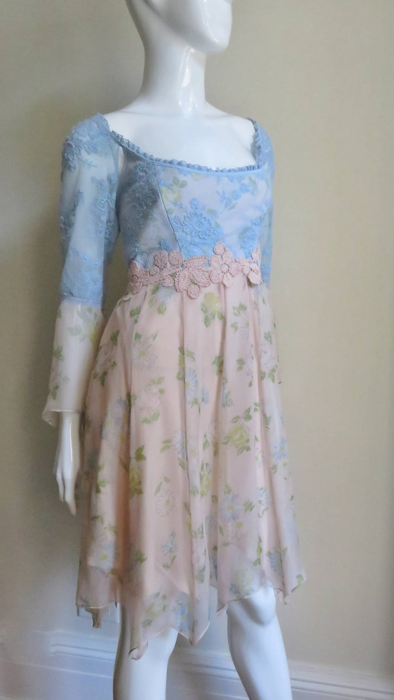 Lolita Lempicka Silk Dress with Lace  For Sale 4