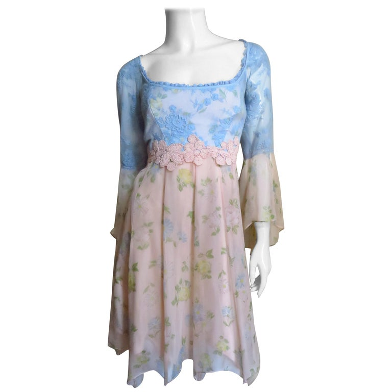 Lolita Lempicka Silk Dress with Lace  For Sale