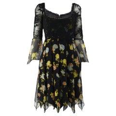 Lolita Lempicka Vintage Floral Lace & Silk Chiffon Dress